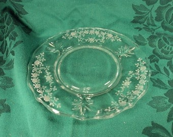 Fostoria Meadow Rose Etched Glass Salad or Dessert Plates Set of 4