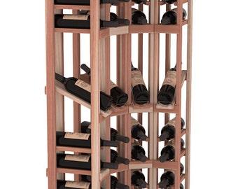 handmade wooden 4 column 60 bottle display corner wine cellar kit in premium redwood 13