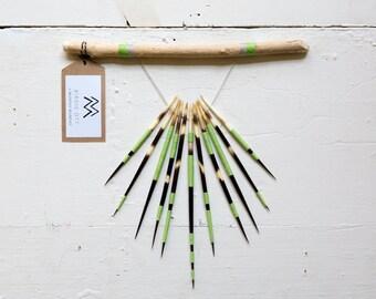 MADE to ORDER : African Porcupine Quill Wall Hanging Art << GREEN >>  Quill Art || Nature Craft ||  Dreamcatcher  ||  Driftwood