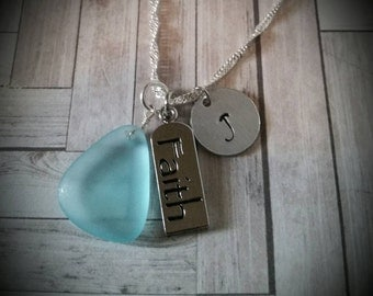 Custom Hand Stamped Nautical Sea Glass and Faith Necklace