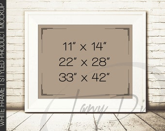 11x14 landscape portrait white frame on wooden floor mock ups wall art display mockup png psd 4 vintage style 22x28 33x42 styled images