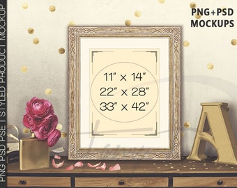 11x14 Portrait & Landscape Old Ornamental Frame Peonies Golden Letter A on Table, Print Display Mockup PNG PSD PSE Styled Images 22x28 33x42