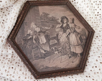 Antique French Vanity Mirror, Shabby Chic, Victorian