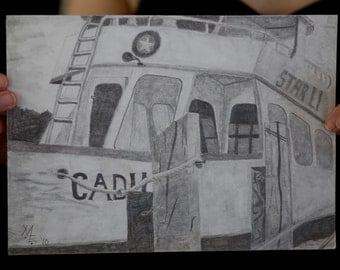 Drawing of a boat at dock