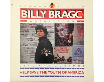 """Billy Bragg, """"Help Save the Youth of America"""", vinyl record album, new wave EP, 1980s, alternative, live"""