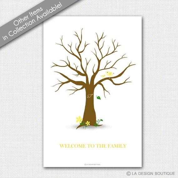 Bird baby shower tree baby shower guest sign in tree diy poster