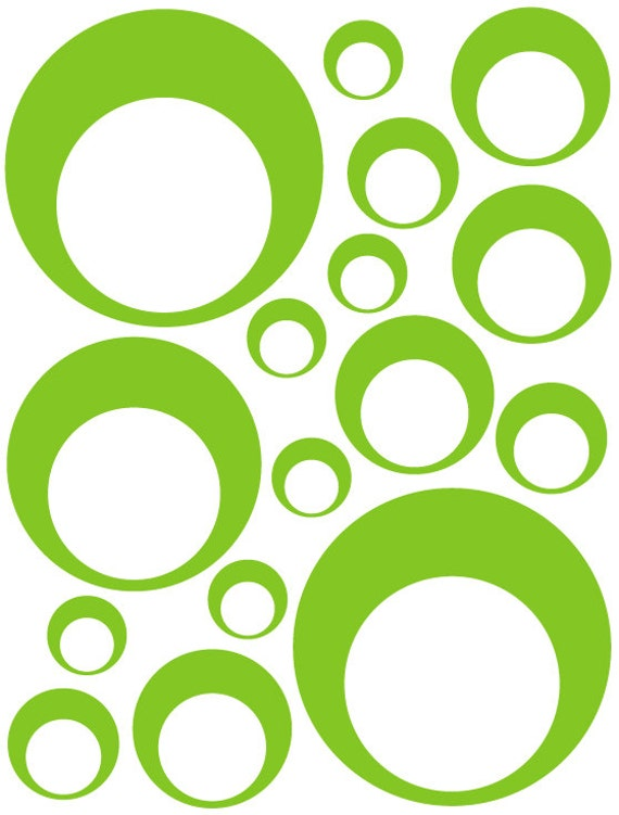 32 Lime Green Vinyl Circle in a Circle Bubble Dots Bedroom Wall Decals Stickers Teen Kids Baby Dorm Room Removable Custom Easy to Install