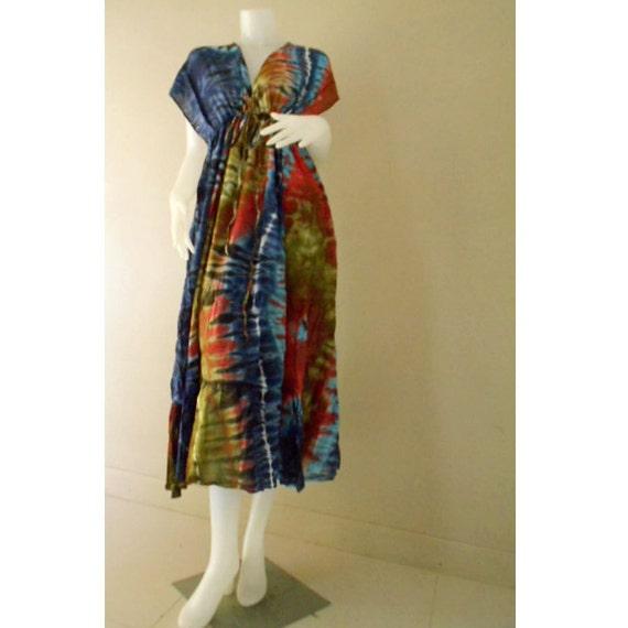 100 % Tie Dye Cotton New Tropical Cute Gypsy Boho Hippie Handmade Beach Long Summer Sexy Kimono Maxi Dress S-L (TD37)
