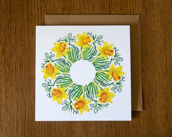 Daffodils. Square blank greetings card.