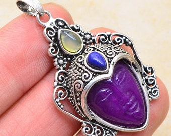 Purple Jade silver plated pendant ( #J1206)