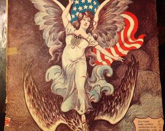 Spirit of Freedom Original 1905 Sheet Music With Amazing Americana Artwork
