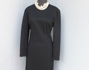 1970s Alfred Werber Saint Louis, Black Wool Dress, Little Black Dress, Dinner Dress
