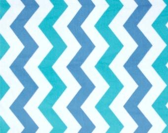 Quiltsy Destash Party - It's A Boy Thing Cozy Shimmy Shake Chevron Blue MINKY by Michael Miller - CZ6323-BOYX-D