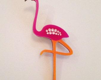 Fernando the flamingo laser cut brooch