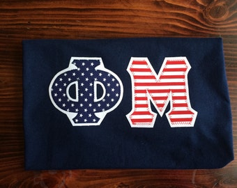 America Phi Mu Stitched Lettered shirt