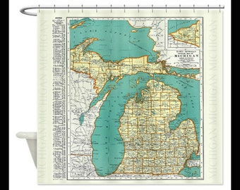 Vintage Michigan Map Shower Curtain In Two Sizes
