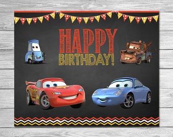 Disney Cars Birthday Sign Chalkboard - Lightning McQueen Birthday Sign - Disney Cars Printables - Cars Party Favor - Cars Happy Birthday