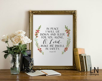 Instant 'In peace I will lie down and sleep, for you alone, O Lord' Wall Art Printable Scripture Art Psalm 4:8