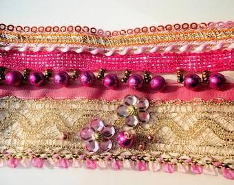 fabric bracelet textile bracelet hippie bracelet lace bracelet boho bracelet, pink gold