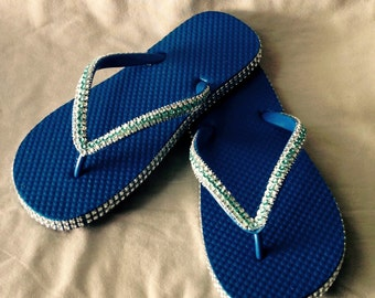 Women's Blue Flip Flops with Silver and Light Blue Embellishment Ribbon