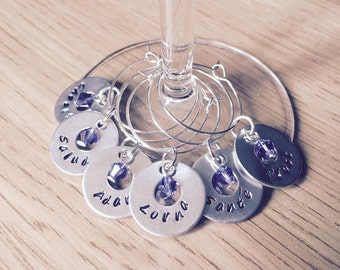 Personalised Hand Stamped Wine Glass Charms with Swarovski Crystals