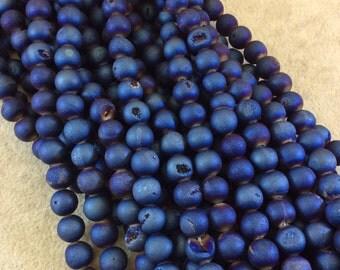 "8mm Druzy Round Dark Blue Titanium Agate Beads - 15.5"" Strand (Approximately 47 Beads) - Natural Semi-Precious Gemstone"