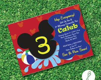 Splash into the Summer with this unique Mickey or Minnie Invitation for a boy or girl!