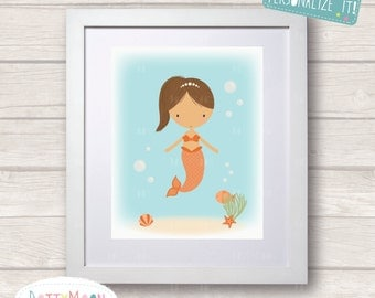 Mermaid in the sea, Childrens / Art Nursery Print,  Wall Decor,  Wall Art. Can be personalized with a name.