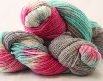 Hand Dyed Worsted Weight Peruvian Highland Wool Yarn -  Aqua, Bright Pink, and Gray multi