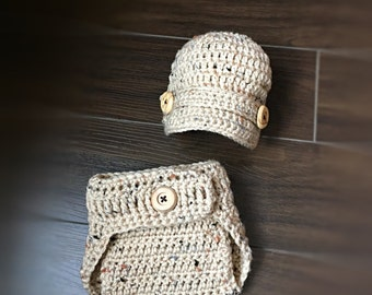 Crochet Baby Boy Diaper Cover and Newsboy Hat in Tan-Made to Order