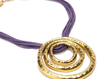 Statement Necklace in Purple and Gold
