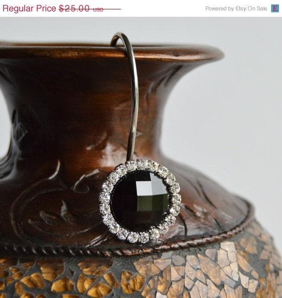 on sale shower curtain hooks rings w black crystal gems and bling rhinestones 1. Black Bedroom Furniture Sets. Home Design Ideas