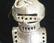Vintage Silver Charm Medieval Knights Helmet with Opening Visor Articulated