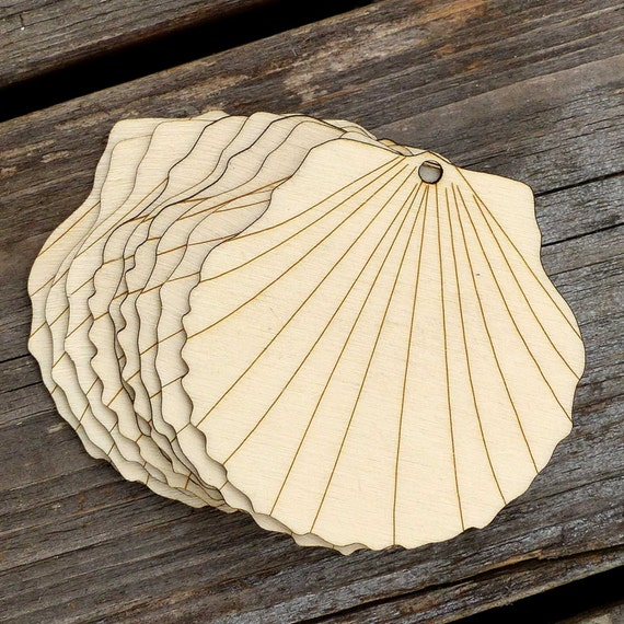10 wooden scallop shell craft shapes 3mm plywood - Scallop shells for crafts ...