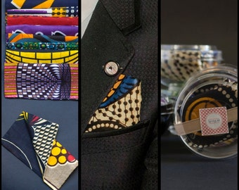 Men's pocket square handkerchief in a colourful and unique african print fabric