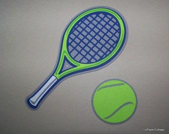 Tennis racket & ball die cuts