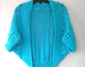 Short 'n Sweet Ribbed Lace Crochet Shrug Pattern
