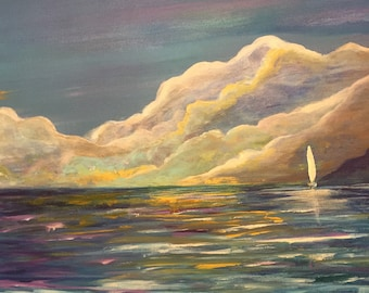 """99 SALE -Original 20"""" x 20"""" Square, Seascape Painting, """"Out to Sea"""""""