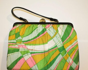 60s vintage bag / yellow green pink pattern and PU handbag / swinging london twiggy / 10% off