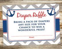 Nautical Diaper Raffle Ticket - Anchor Diaper Raffle Card - Printabel Diaper Raffle Card