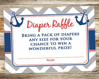 Nautical Diaper Raffle Ticket - Anchor Diaper Raffle Card - Printabel Diaper Raffle Card - Nautical Baby Shower - Digital Download