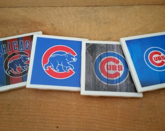 Set of 4 Chicago Cubs handmade coasters