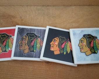 Set of 4 Chicago Blackhawks handmade coasters