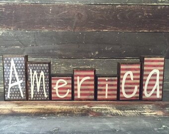 Patriotic Theme Home Decor Wood Blocks - America - {Independence Day, Stars & Stripes, July 4th}