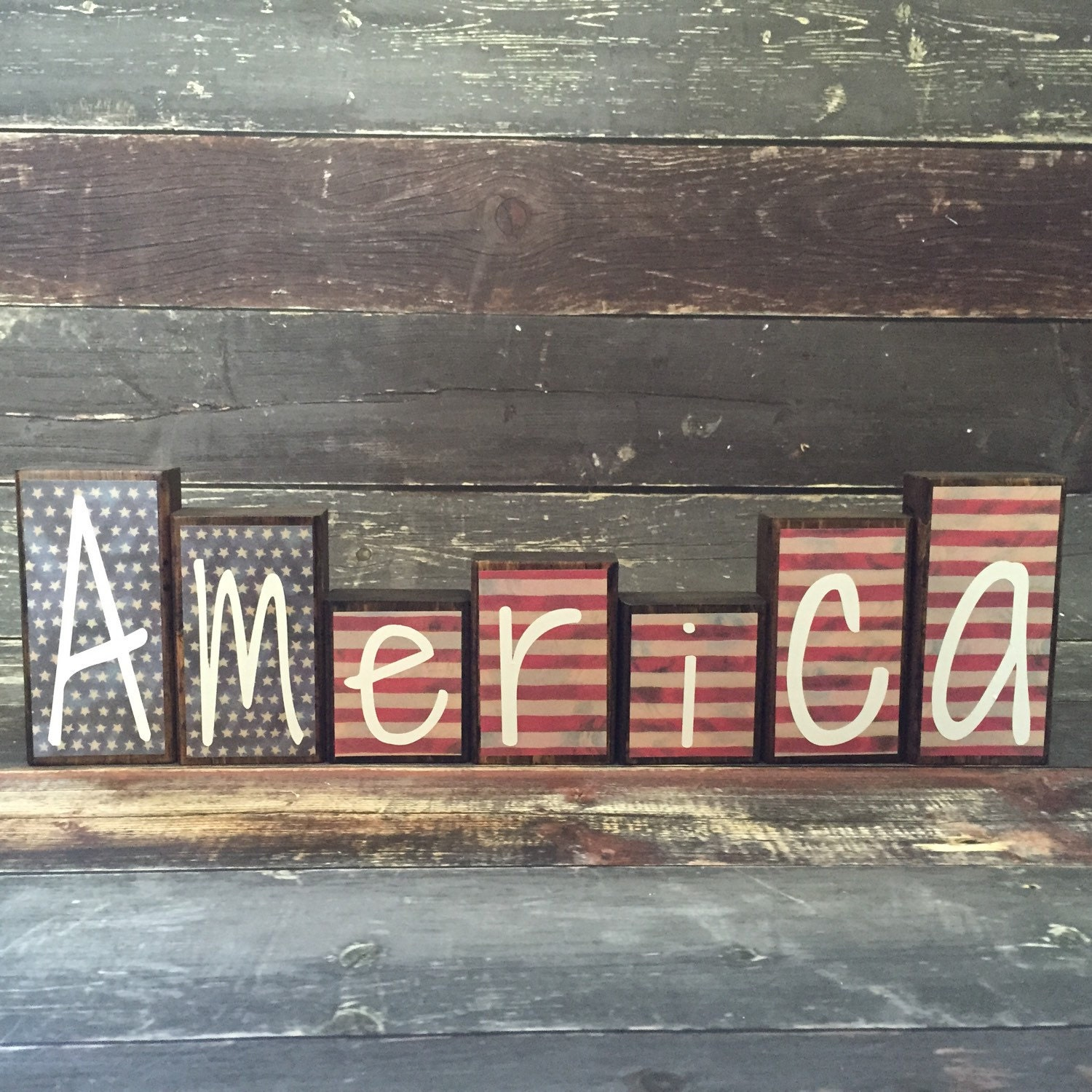 Patriotic Theme Home Decor Wood Blocks America