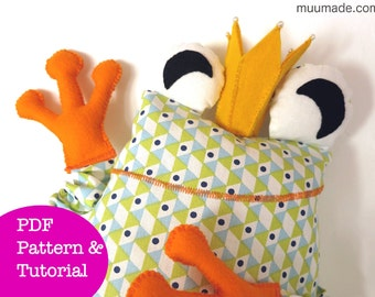 Frog Prince Sewing Pattern, Stuffed Animal Pattern, Decorative cushion, Soft plushie, Tooth Fairy Pillow, Gift, Children, Sofa couch bed