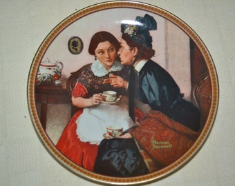 """Edwin M. Knowles china plate called """"Gossiping in the Alcove"""" by Norman Rockwell, 1983.   8.25"""" diameter. A great gift for your best friend!"""
