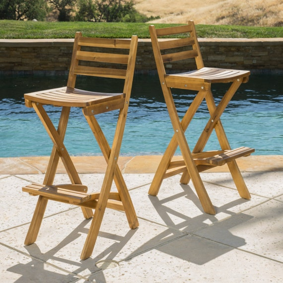 Atlantic Outdoor Folding Wood Bar Stools Set By
