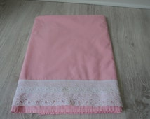 French Vintage cotton babies pink sheet   (01032)