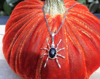 Black onyx spider pendant
